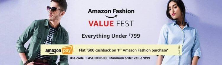 Amazon Coupon - Flat Rs 300 OFF on Your First Amazon Fashion Purchase